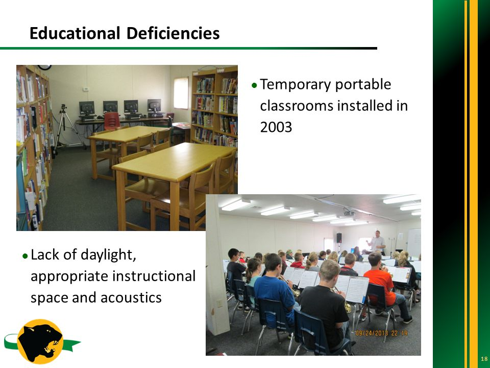 Educational Deficiencies 18 ● Temporary portable classrooms installed in 2003 ● Lack of daylight, appropriate instructional space and acoustics
