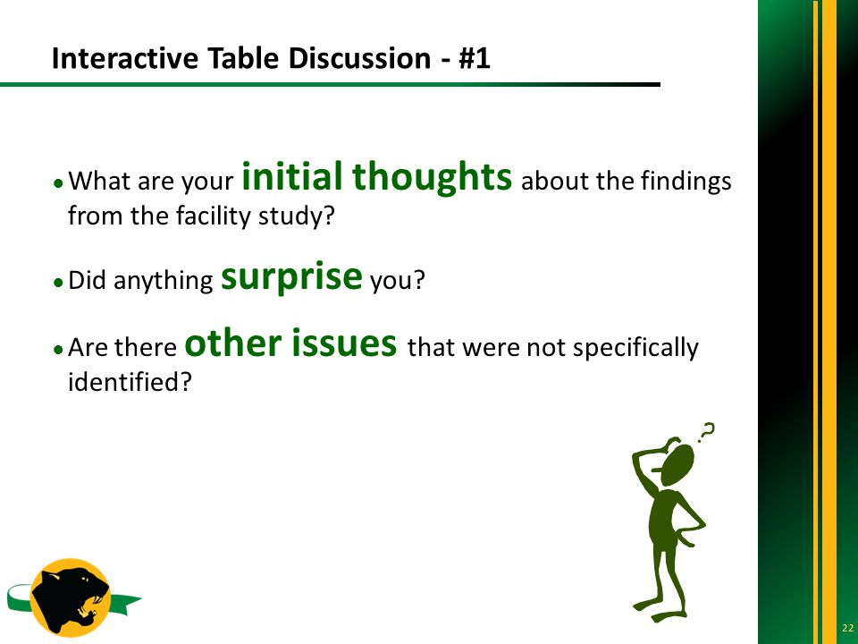 Interactive Table Discussion - #1 22 ● What are your initial thoughts about the findings from the facility study.