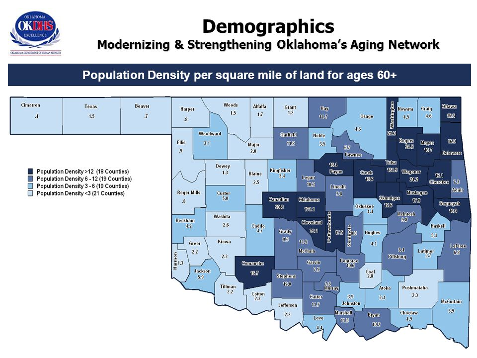13 Population Density per square mile of land for ages 60+ Modernizing & Strengthening Oklahoma's Aging Network Demographics Modernizing & Strengthening Oklahoma's Aging Network