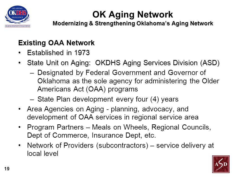 19 Modernizing & Strengthening Oklahoma's Aging Network OK Aging Network Modernizing & Strengthening Oklahoma's Aging Network Existing OAA Network Established in 1973Established in 1973 State Unit on Aging: OKDHS Aging Services Division (ASD)State Unit on Aging: OKDHS Aging Services Division (ASD) –Designated by Federal Government and Governor of Oklahoma as the sole agency for administering the Older Americans Act (OAA) programs –State Plan development every four (4) years Area Agencies on Aging - planning, advocacy, and development of OAA services in regional service area Program Partners – Meals on Wheels, Regional Councils, Dept of Commerce, Insurance Dept, etc.