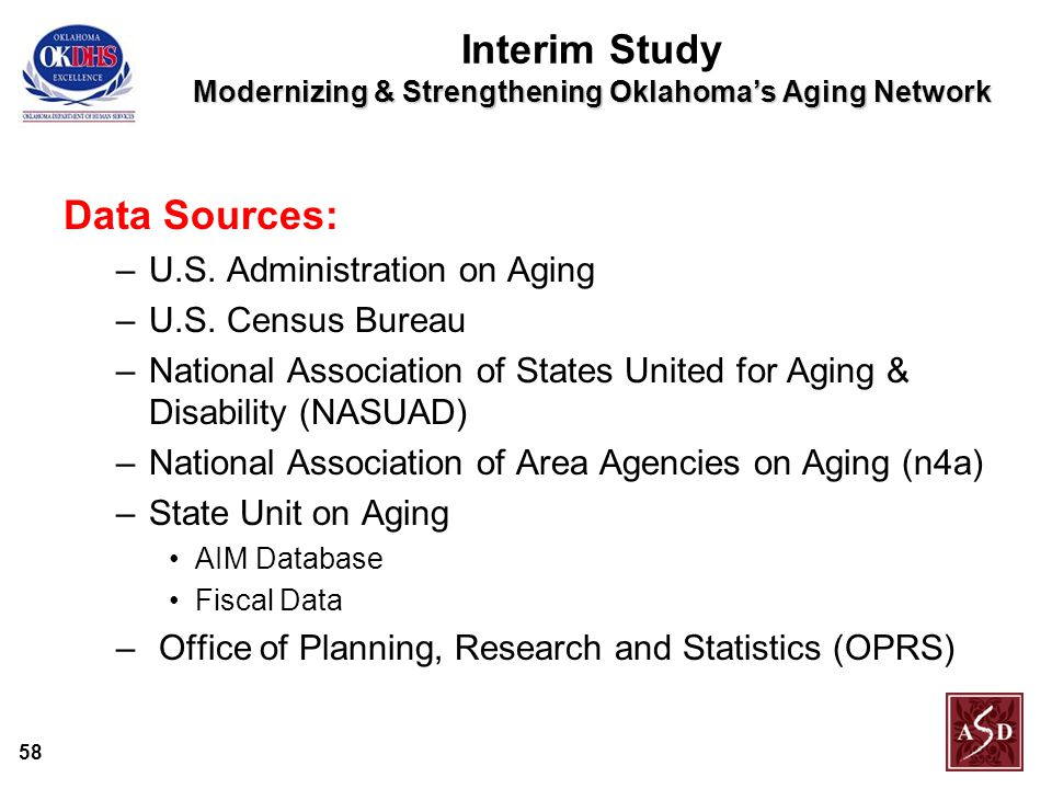 58 Modernizing & Strengthening Oklahoma's Aging Network Interim Study Modernizing & Strengthening Oklahoma's Aging Network Data Sources: –U.S.