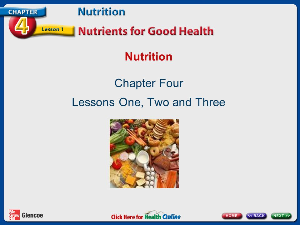 Nutrition Chapter Four Lessons One, Two and Three
