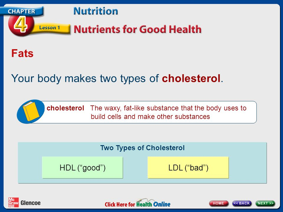 Fats Your body makes two types of cholesterol.