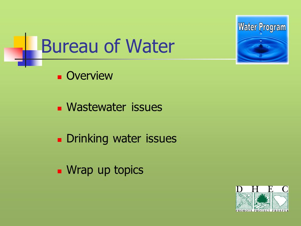 Bureau of Water Overview Wastewater issues Drinking water issues Wrap up topics
