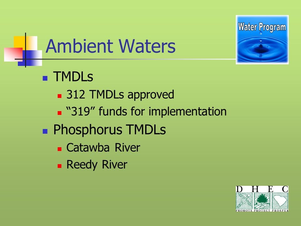 Ambient Waters TMDLs 312 TMDLs approved 319 funds for implementation Phosphorus TMDLs Catawba River Reedy River
