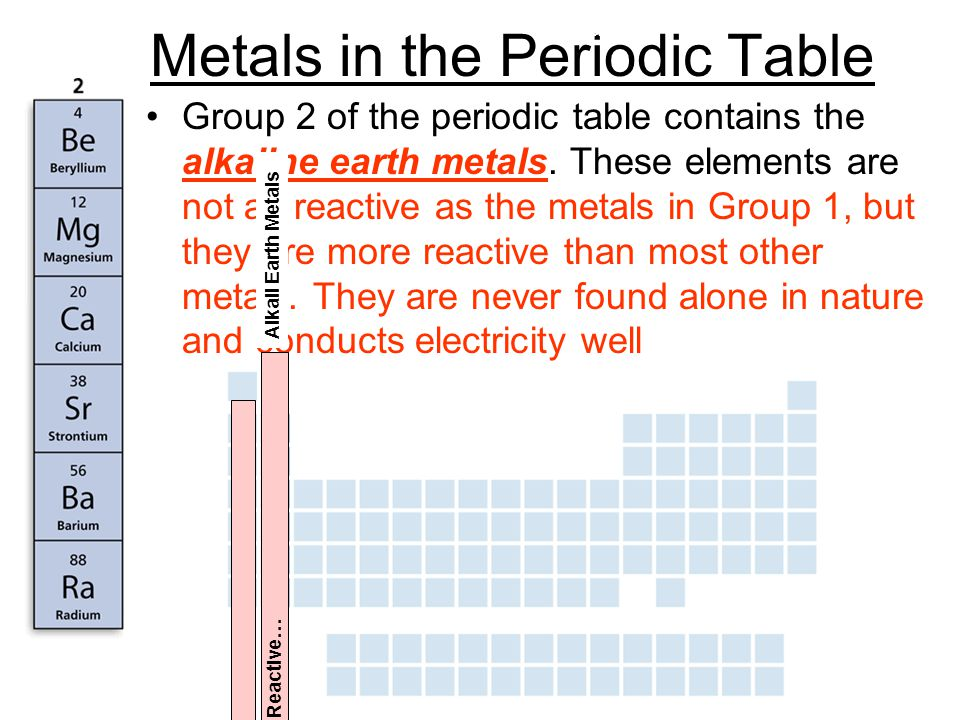 3 metals in the periodic table group 2 of the periodic table contains the alkaline earth