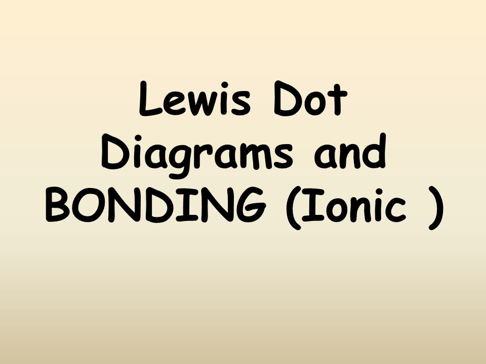Lewis Dot Diagrams and BONDING (Ionic )