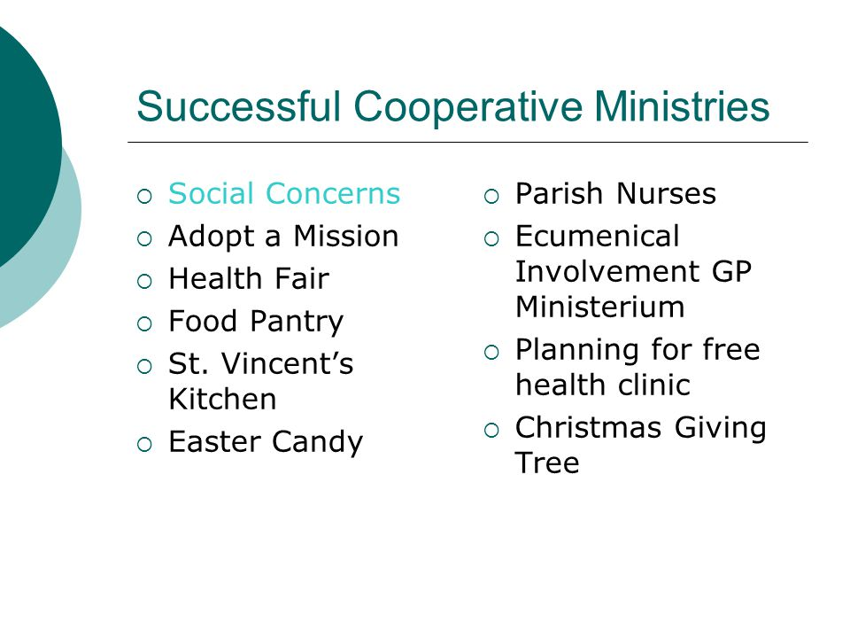 Successful Cooperative Ministries  Social Concerns  Adopt a Mission  Health Fair  Food Pantry  St.