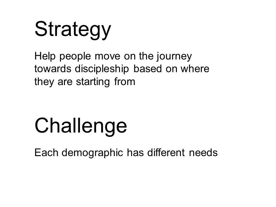 Strategy Help people move on the journey towards discipleship based on where they are starting from Challenge Each demographic has different needs