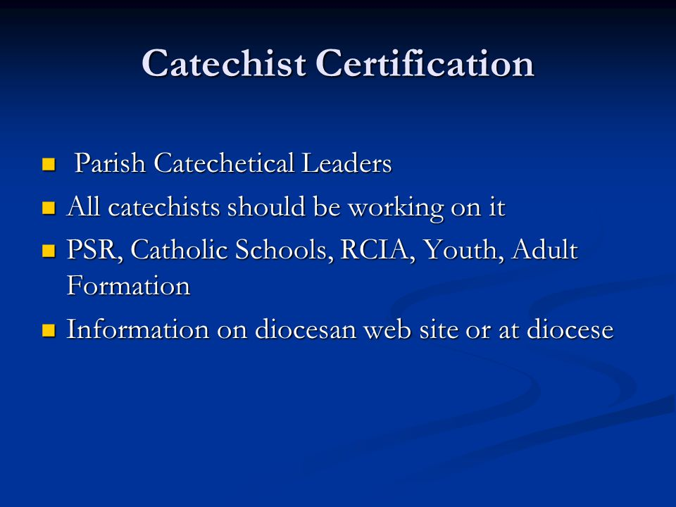 Parish Catechetical Leader Training Diocese Of Springfield Cape