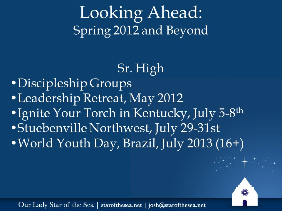 Looking Ahead: Spring 2012 and Beyond Sr.