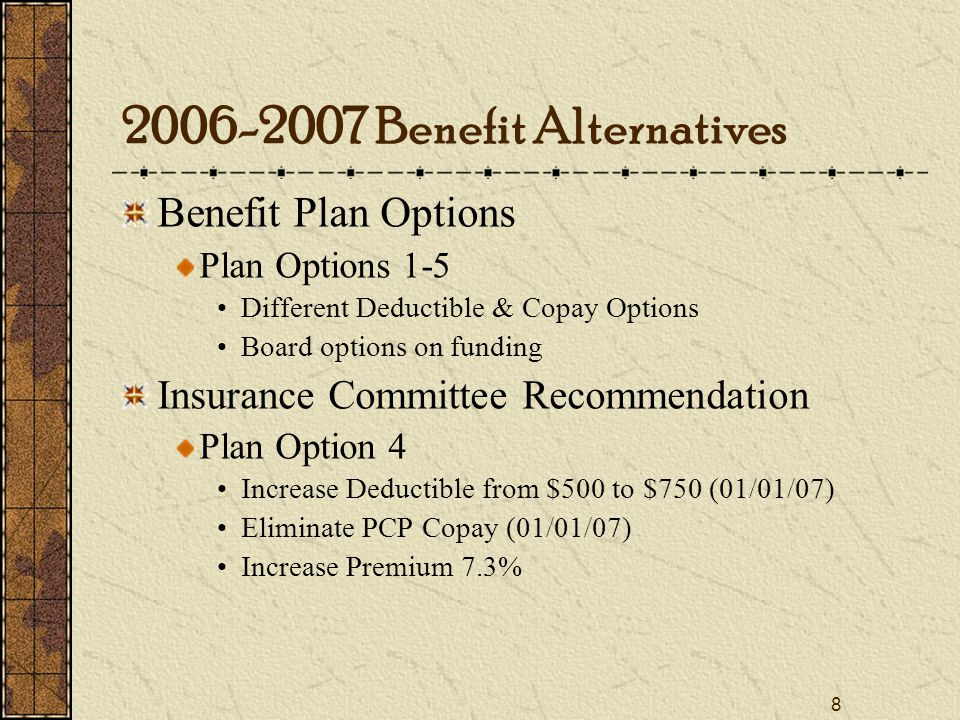 8 Benefit Plan Options Plan Options 1-5 Different Deductible & Copay Options Board options on funding Insurance Committee Recommendation Plan Option 4 Increase Deductible from $500 to $750 (01/01/07) Eliminate PCP Copay (01/01/07) Increase Premium 7.3% Benefit Alternatives