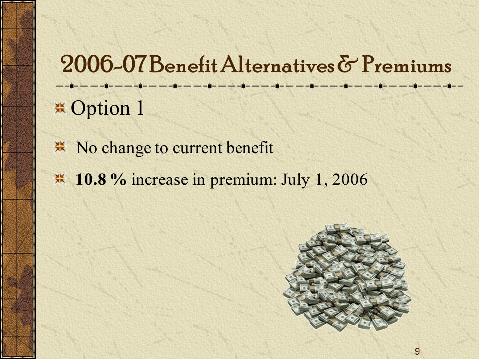 9 Option 1 No change to current benefit 10.8 % increase in premium: July 1, Benefit Alternatives & Premiums