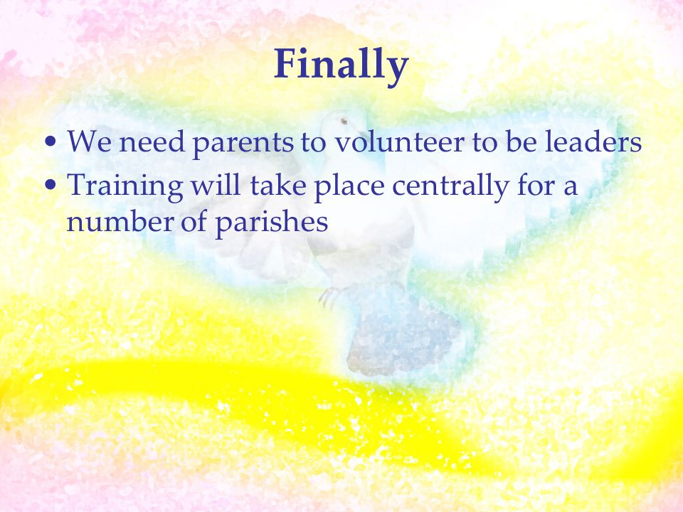 Finally We need parents to volunteer to be leaders Training will take place centrally for a number of parishes