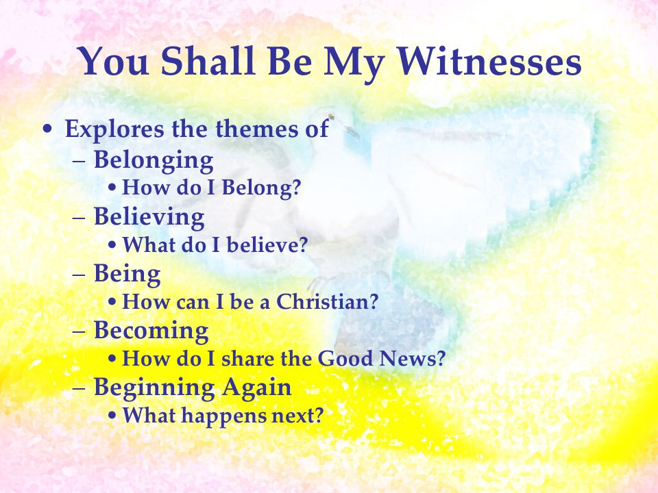 You Shall Be My Witnesses Explores the themes of –Belonging How do I Belong.