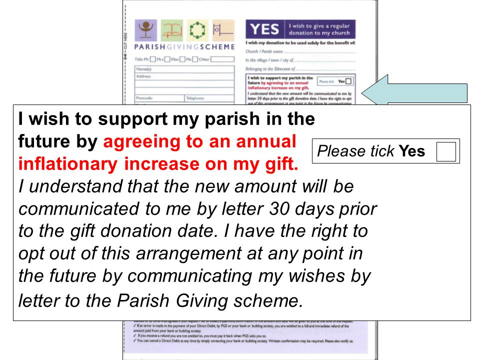 I wish to support my parish in the future by agreeing to an annual inflationary increase on my gift.