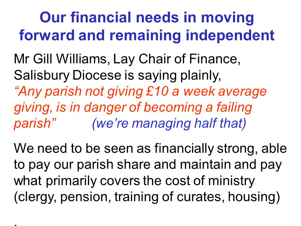 Our financial needs in moving forward and remaining independent Mr Gill Williams, Lay Chair of Finance, Salisbury Diocese is saying plainly, Any parish not giving £10 a week average giving, is in danger of becoming a failing parish (we're managing half that) We need to be seen as financially strong, able to pay our parish share and maintain and pay what primarily covers the cost of ministry (clergy, pension, training of curates, housing).