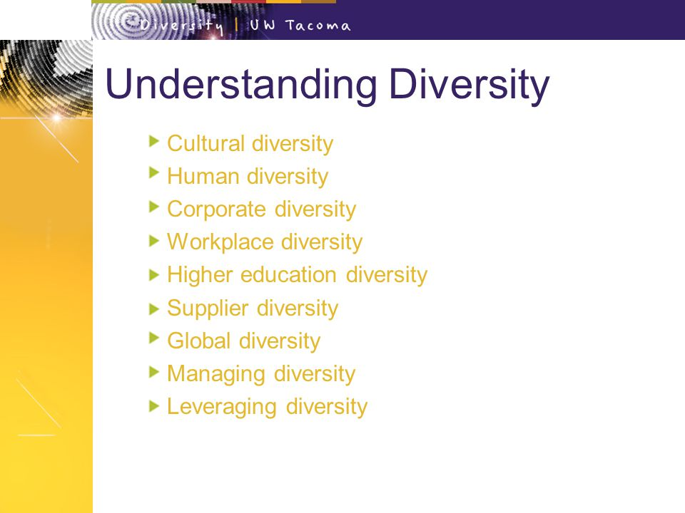 explain what is meant by diversity You should do your best to be good at diversity management so that you have all different types of people working for you.