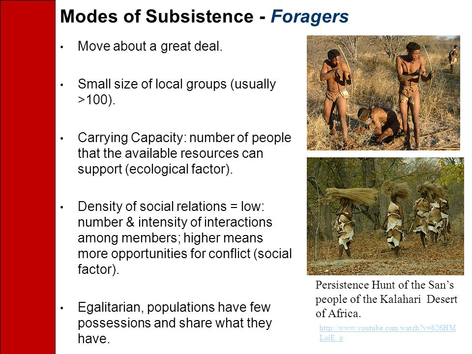 Modes of Subsistence - Foragers Move about a great deal.
