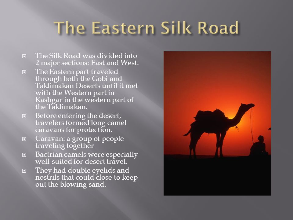  The Silk Road was divided into 2 major sections: East and West.