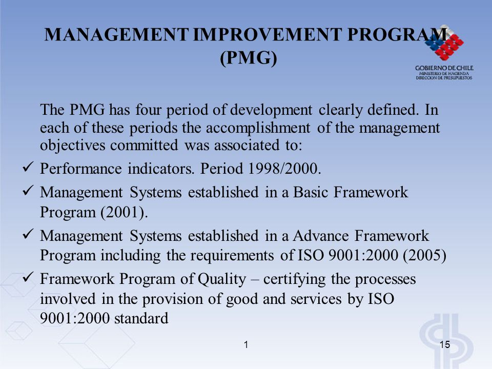 115 The PMG has four period of development clearly defined.