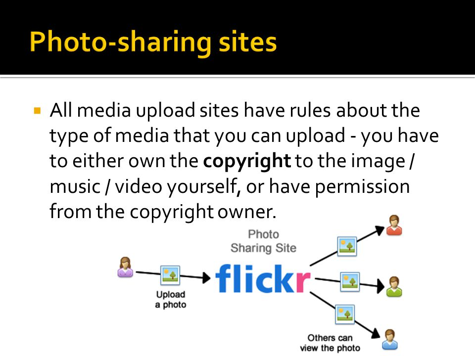  All media upload sites have rules about the type of media that you can upload - you have to either own the copyright to the image / music / video yourself, or have permission from the copyright owner.