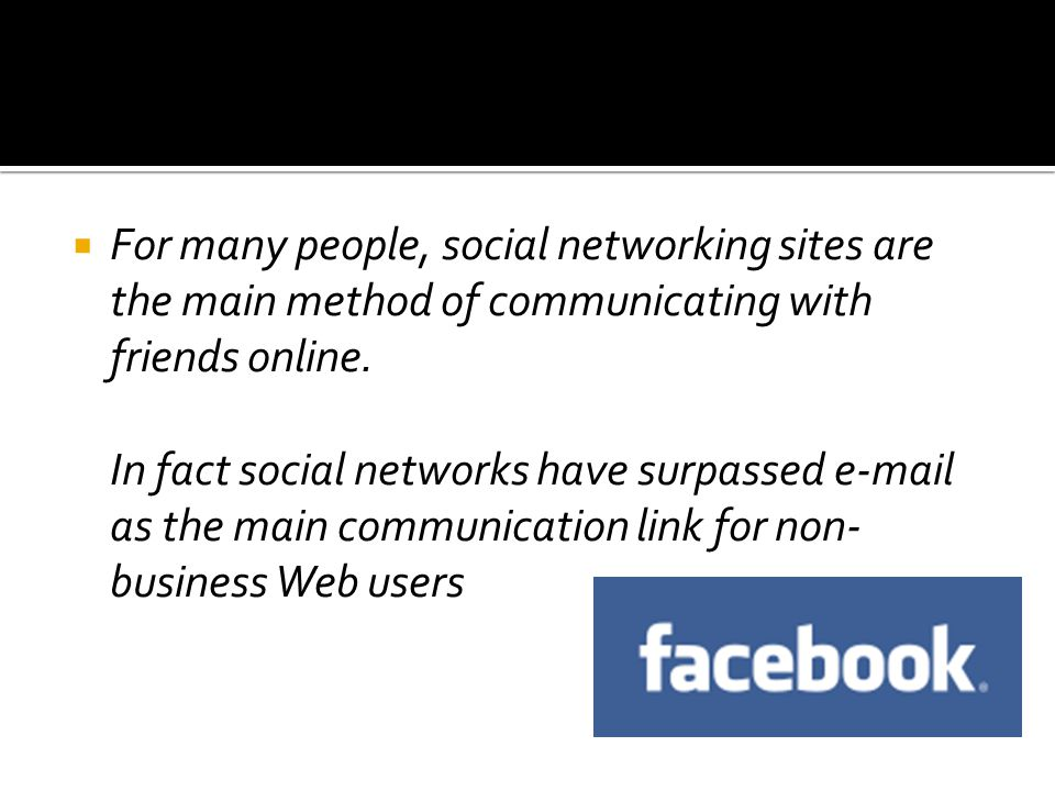  For many people, social networking sites are the main method of communicating with friends online.