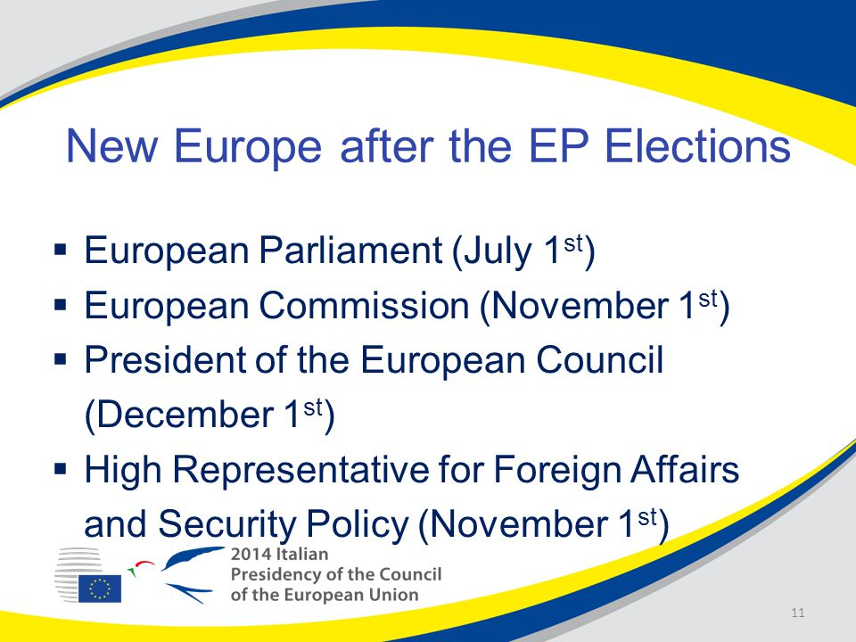 New Europe after the EP Elections  European Parliament (July 1 st )  European Commission (November 1 st )  President of the European Council (December 1 st )  High Representative for Foreign Affairs and Security Policy (November 1 st ) 11