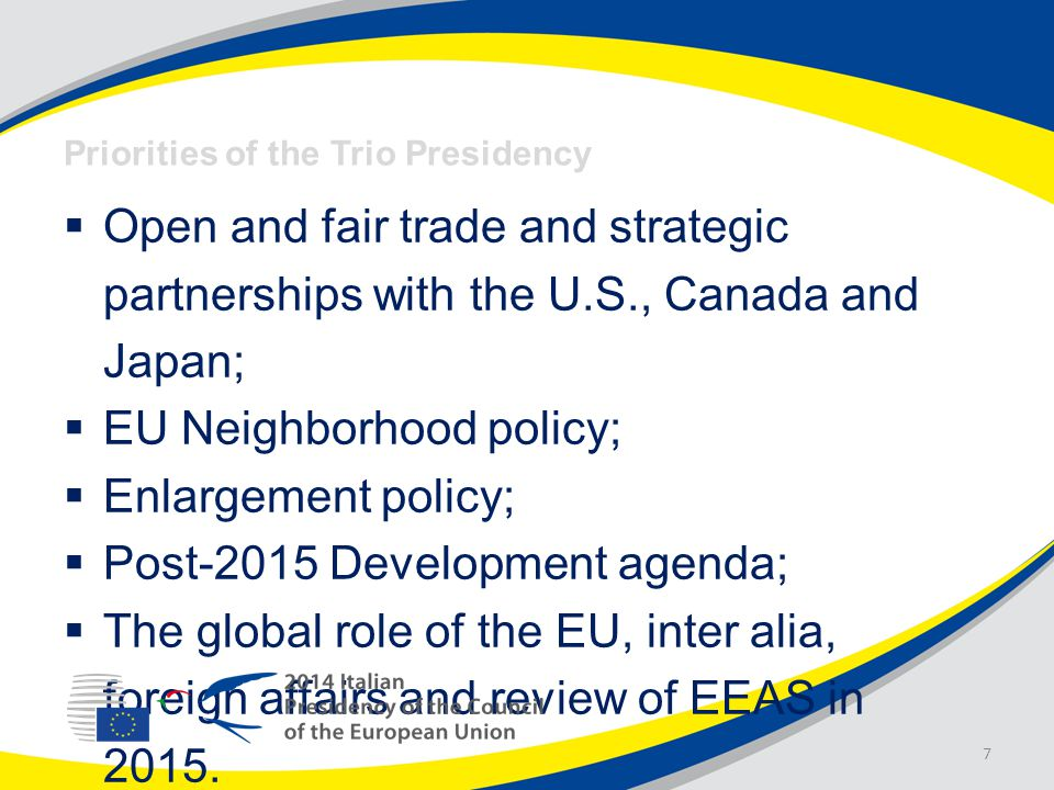  Open and fair trade and strategic partnerships with the U.S., Canada and Japan;  EU Neighborhood policy;  Enlargement policy;  Post-2015 Development agenda;  The global role of the EU, inter alia, foreign affairs and review of EEAS in 2015.