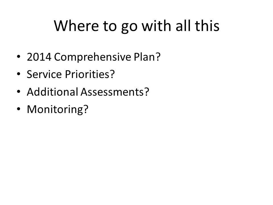 Where to go with all this 2014 Comprehensive Plan.