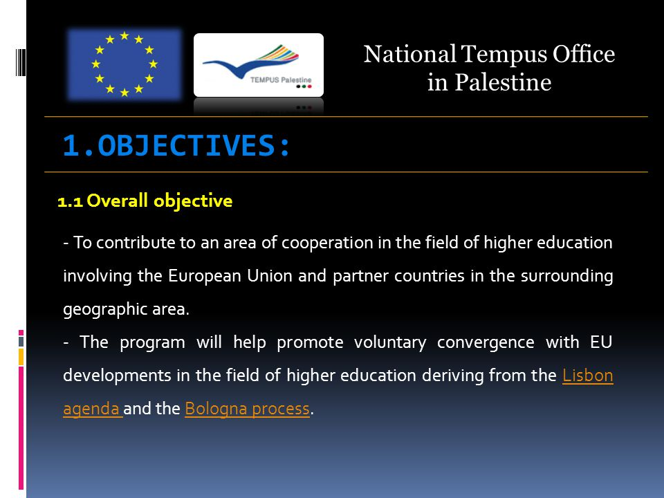 1.1 Overall objective - To contribute to an area of cooperation in the field of higher education involving the European Union and partner countries in the surrounding geographic area.