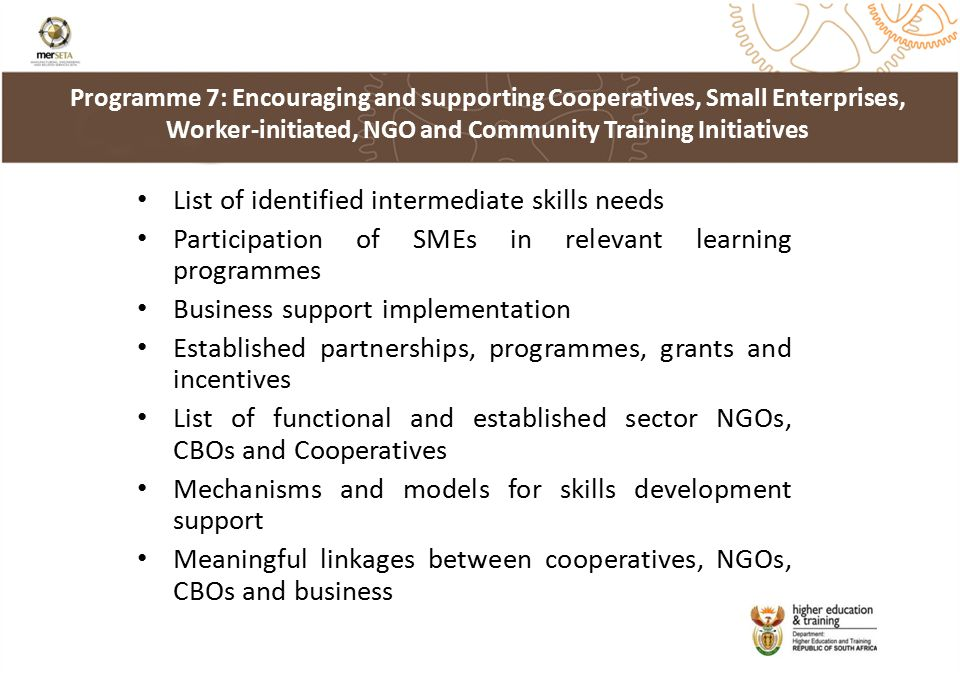 List of identified intermediate skills needs Participation of SMEs in relevant learning programmes Business support implementation Established partnerships, programmes, grants and incentives List of functional and established sector NGOs, CBOs and Cooperatives Mechanisms and models for skills development support Meaningful linkages between cooperatives, NGOs, CBOs and business Programme 7: Encouraging and supporting Cooperatives, Small Enterprises, Worker-initiated, NGO and Community Training Initiatives