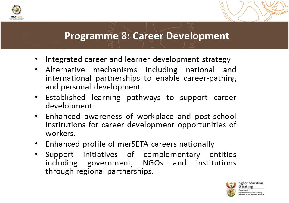 Integrated career and learner development strategy Alternative mechanisms including national and international partnerships to enable career-pathing and personal development.