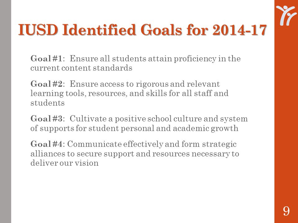 IUSD Identified Goals for Goal #1 : Ensure all students attain proficiency in the current content standards Goal #2 : Ensure access to rigorous and relevant learning tools, resources, and skills for all staff and students Goal #3 : Cultivate a positive school culture and system of supports for student personal and academic growth Goal #4 : Communicate effectively and form strategic alliances to secure support and resources necessary to deliver our vision 9