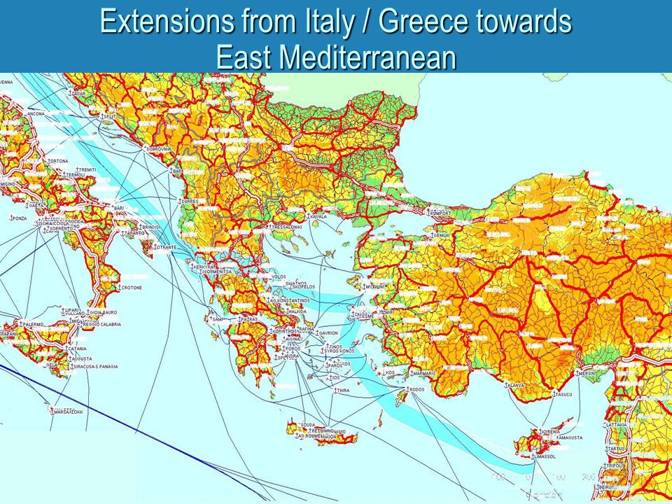 Extensions from Italy / Greece towards East Mediterranean
