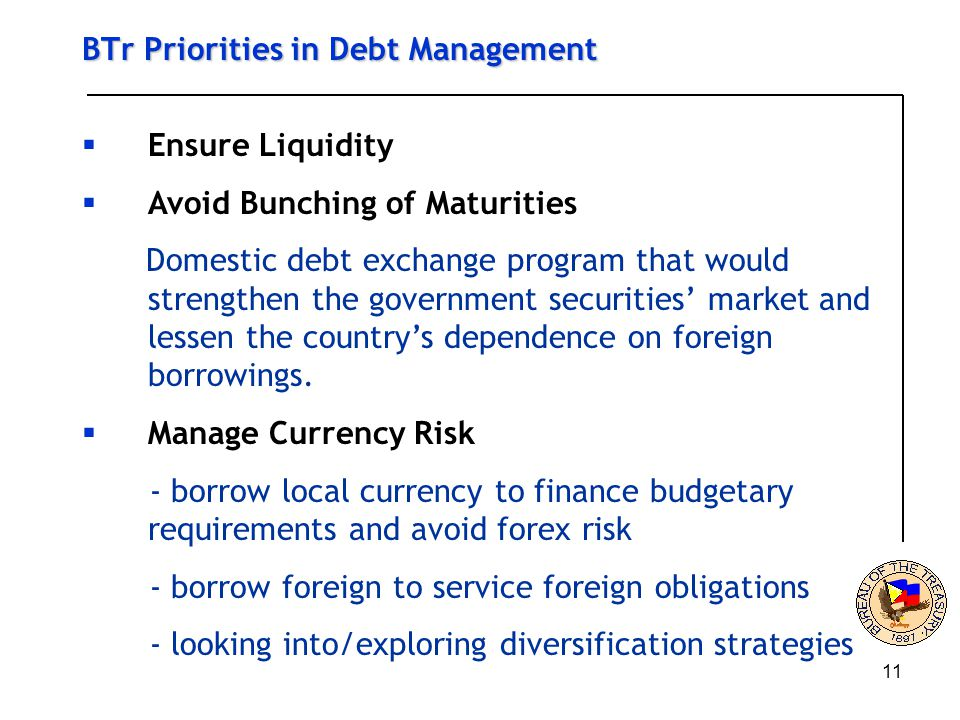 11 BTr Priorities in Debt Management  Ensure Liquidity  Avoid Bunching of Maturities Domestic debt exchange program that would strengthen the government securities' market and lessen the country's dependence on foreign borrowings.