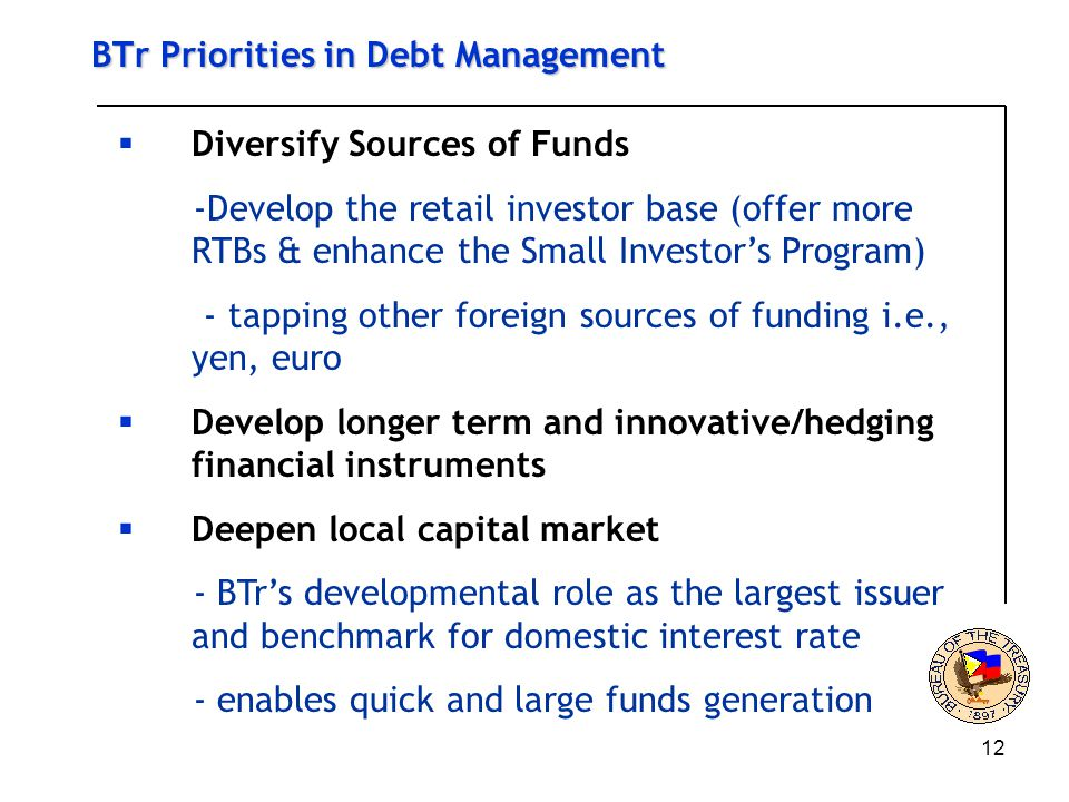 12 BTr Priorities in Debt Management  Diversify Sources of Funds -Develop the retail investor base (offer more RTBs & enhance the Small Investor's Program) - tapping other foreign sources of funding i.e., yen, euro  Develop longer term and innovative/hedging financial instruments  Deepen local capital market - BTr's developmental role as the largest issuer and benchmark for domestic interest rate - enables quick and large funds generation