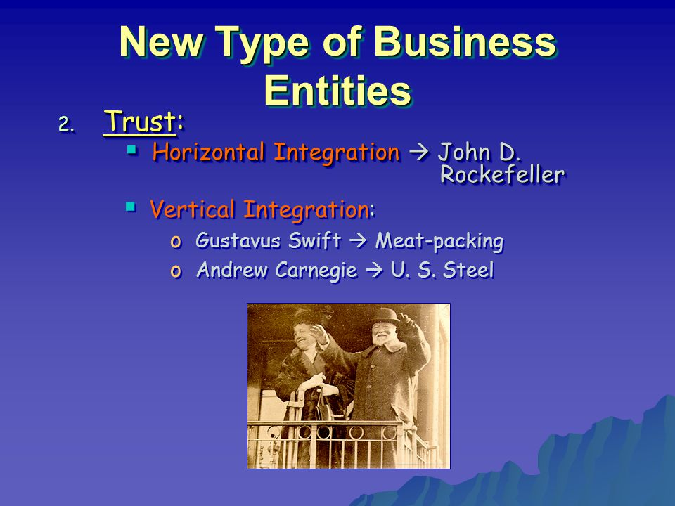 New Type of Business Entities 2. Trust:  Horizontal Integration  John D.