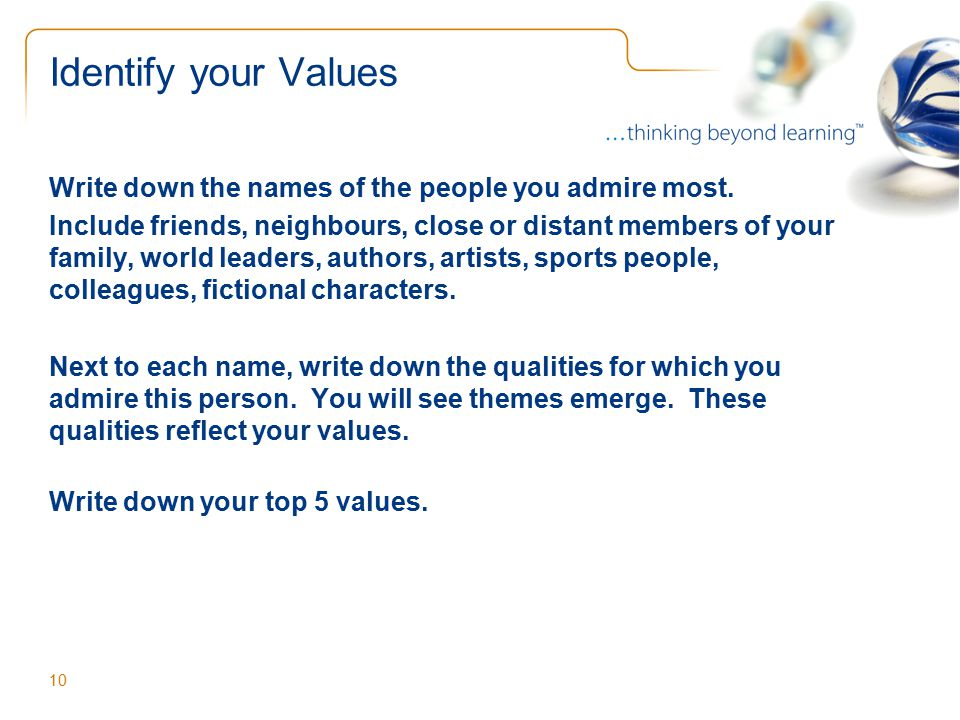 top 5 values in a person