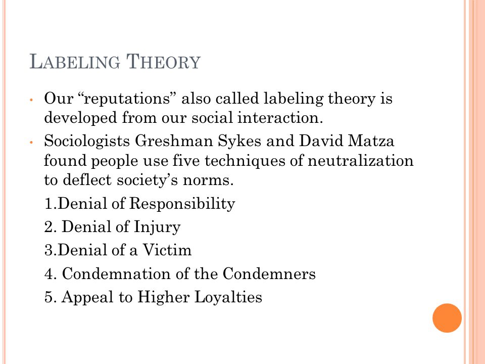 L ABELING T HEORY Our reputations also called labeling theory is developed from our social interaction.