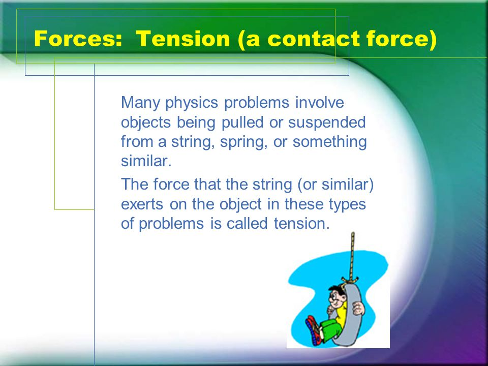 Forces: Tension (a contact force) Many physics problems involve objects being pulled or suspended from a string, spring, or something similar.