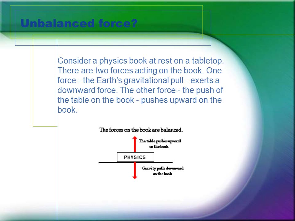 Unbalanced force. Consider a physics book at rest on a tabletop.