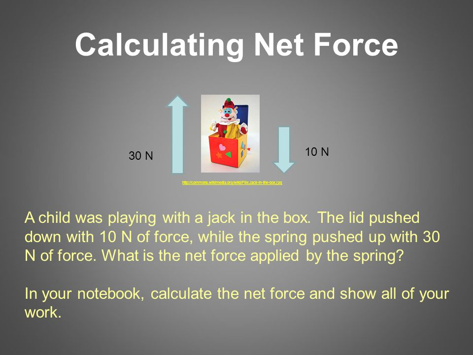 Calculating Net Force 30 N 10 N A child was playing with a jack in the box.