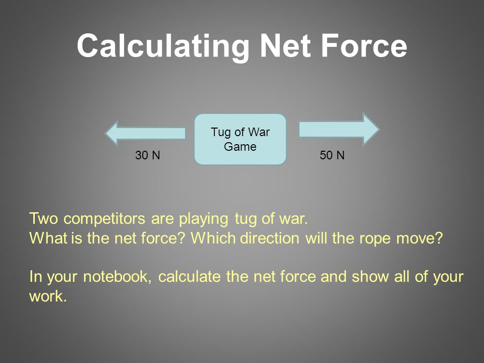 Calculating Net Force 30 N50 N Two competitors are playing tug of war.