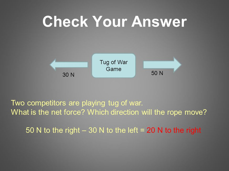 Check Your Answer 30 N 50 N Two competitors are playing tug of war.