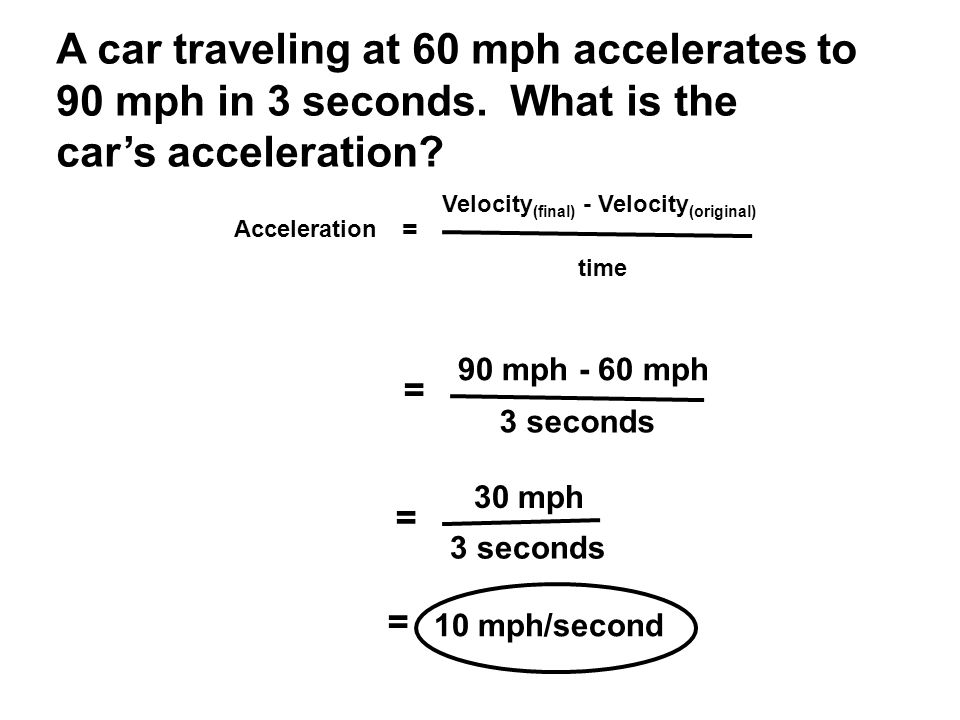 Acceleration = Velocity (final) - Velocity (original) time A car traveling at 60 mph accelerates to 90 mph in 3 seconds.