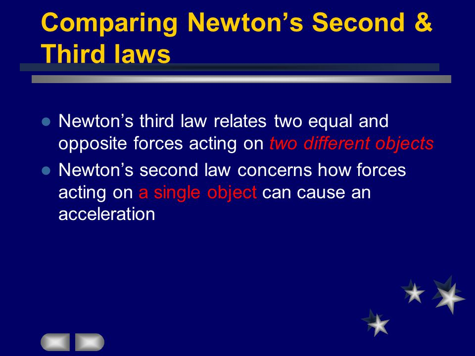 Comparing Newton's Second & Third laws Newton's third law relates two equal and opposite forces acting on two different objects Newton's second law concerns how forces acting on a single object can cause an acceleration