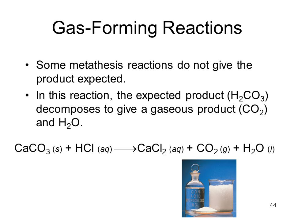 44 Gas-Forming Reactions Some metathesis reactions do not give the product expected.
