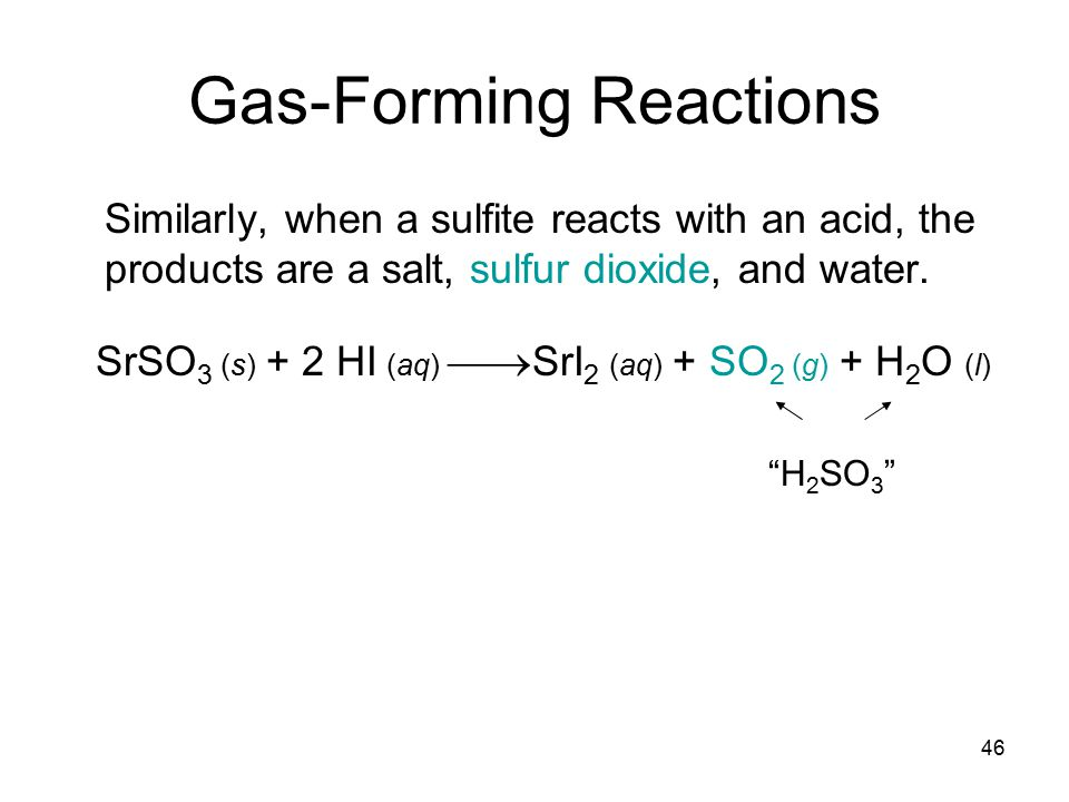46 Gas-Forming Reactions Similarly, when a sulfite reacts with an acid, the products are a salt, sulfur dioxide, and water.