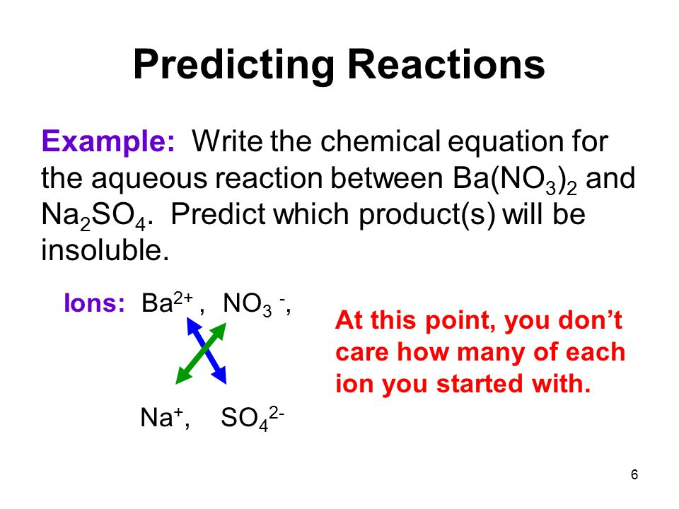 6 Predicting Reactions Example: Write the chemical equation for the aqueous reaction between Ba(NO 3 ) 2 and Na 2 SO 4.